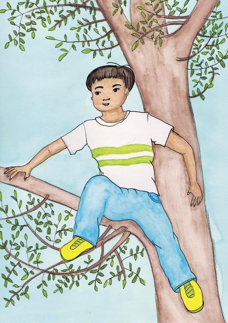Ciro rent naar zijn lievelingsboom en klimt behendig omhoog.